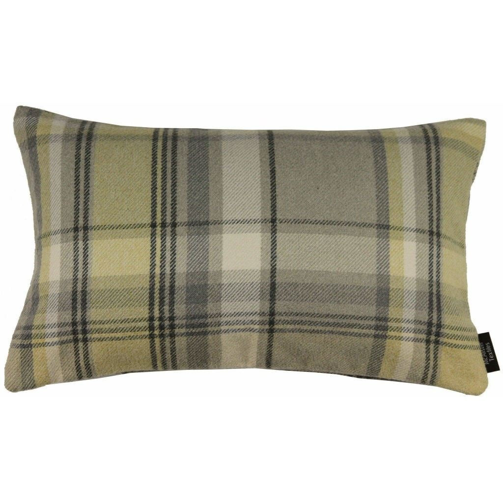 McAlister Textiles Heritage Yellow + Grey Tartan Pillow Pillow Cover Only 50cm x 30cm