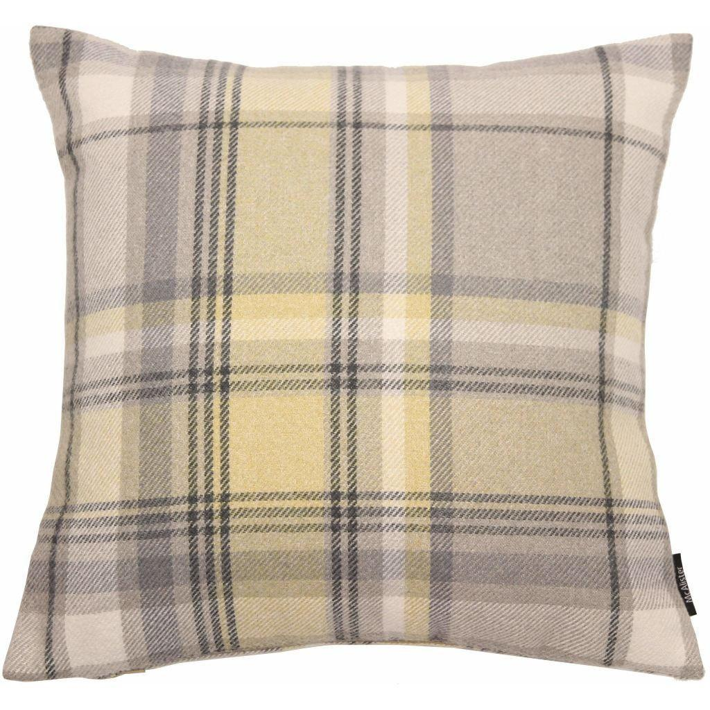 McAlister Textiles Heritage Tartan Check Mimosa Yellow + Grey Cushion Cushions and Covers Cover Only 43cm x 43cm