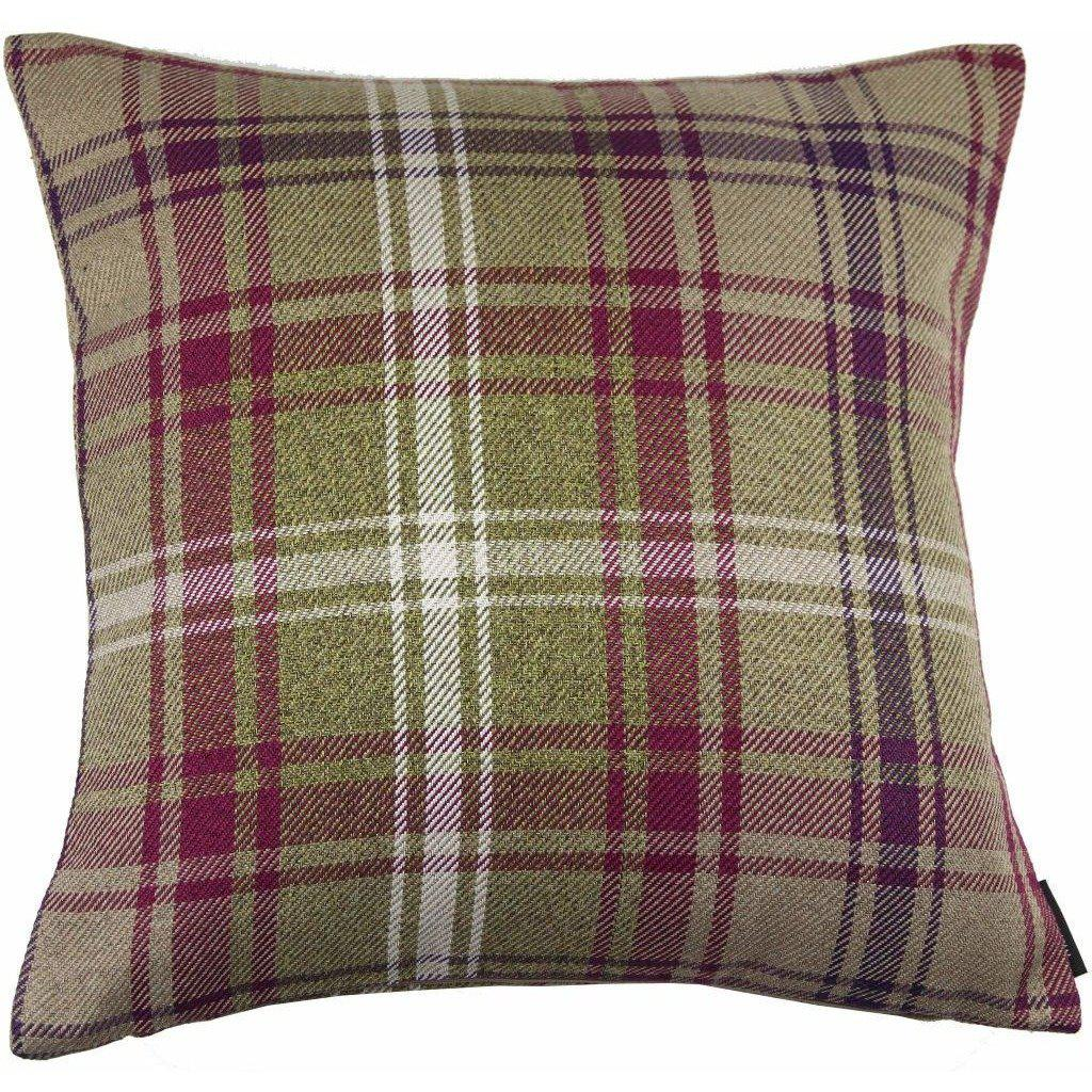 McAlister Textiles Angus Purple + Green Tartan Cushion Cushions and Covers Cover Only 43cm x 43cm