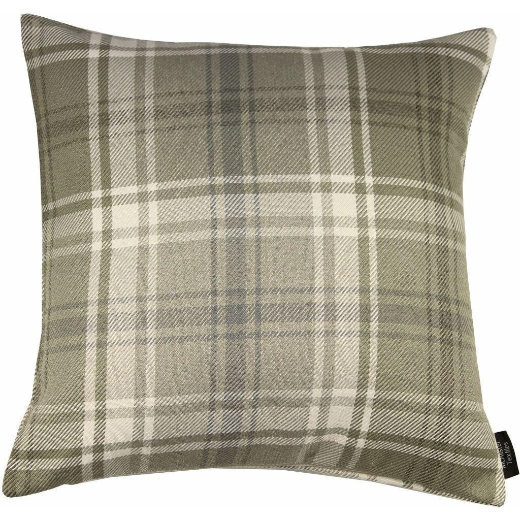 McAlister Textiles Angus Beige Cream Tartan Cushion Cushions and Covers Cover Only 43cm x 43cm