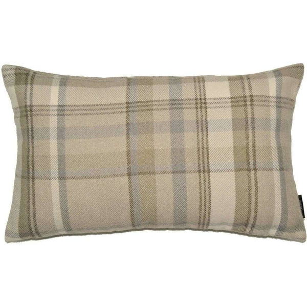 McAlister Textiles Heritage Tartan Check Natural Grey Pillow Pillow Cover Only 50cm x 30cm