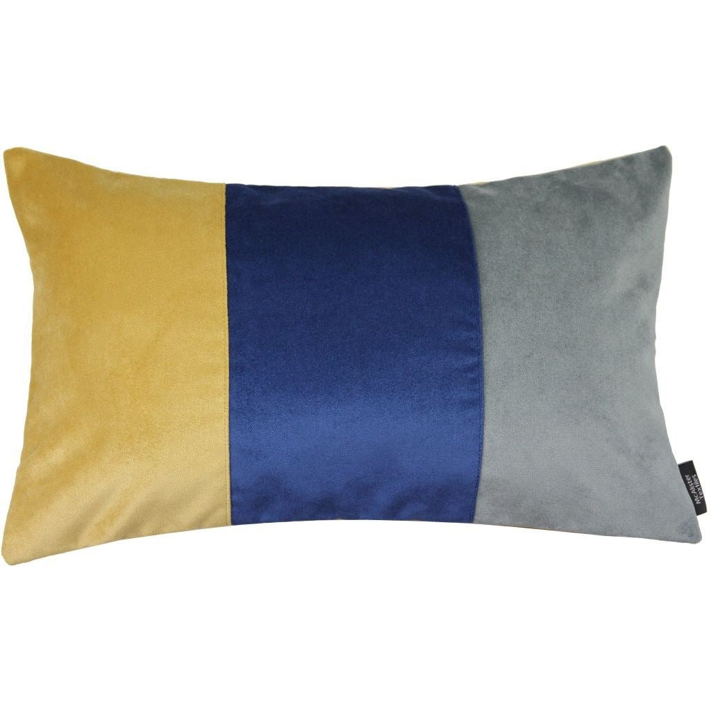 McAlister Textiles 3 Colour Patchwork Velvet Navy Blue, Yellow + Grey Pillow Cushions and Covers Cover Only 50cm x 30cm