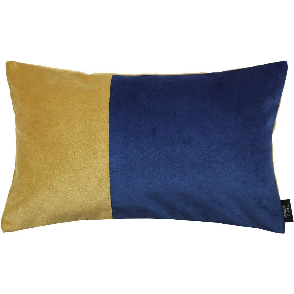McAlister Textiles 2 Colour Patchwork Velvet Navy + Yellow Pillow Cushions and Covers Cover Only 50cm x 30cm