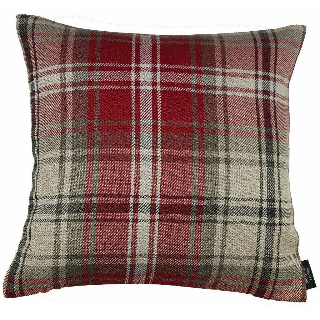 McAlister Textiles Angus Tartan Check Red + White Cushion Cushions and Covers