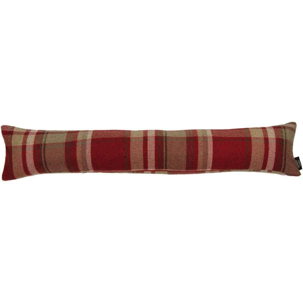 McAlister Textiles Heritage Red + White Tartan Draught Excluder Draught Excluders