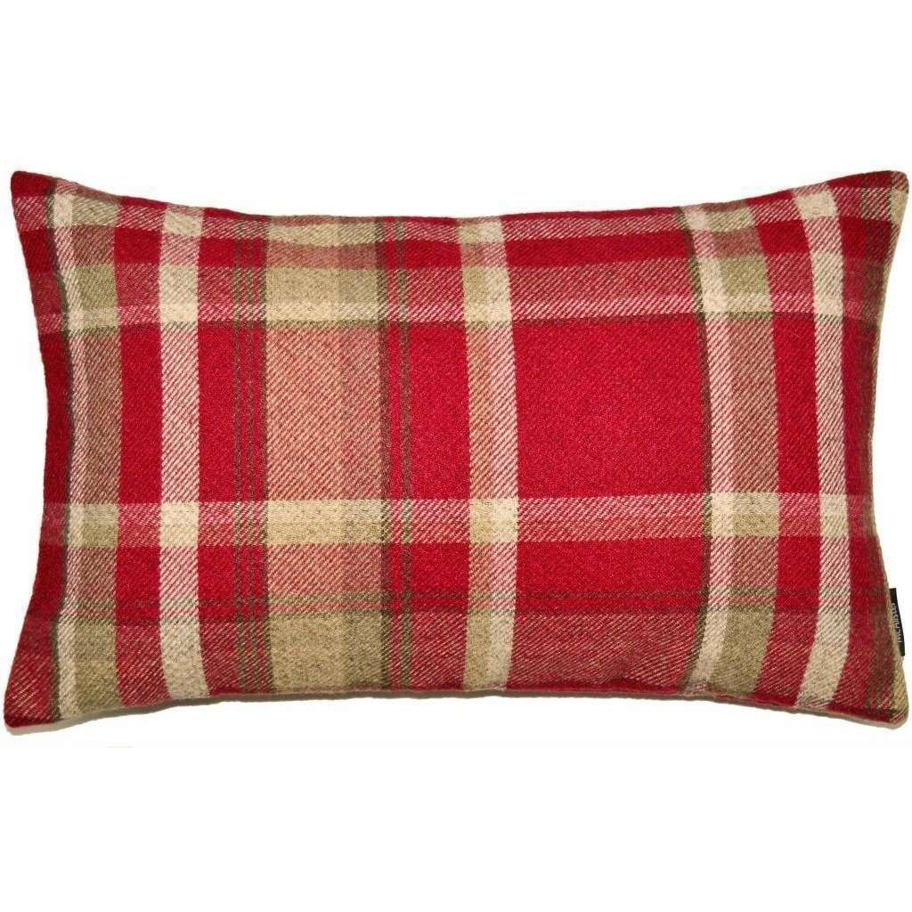 McAlister Textiles Heritage Red + White Tartan Pillow Pillow Cover Only 50cm x 30cm