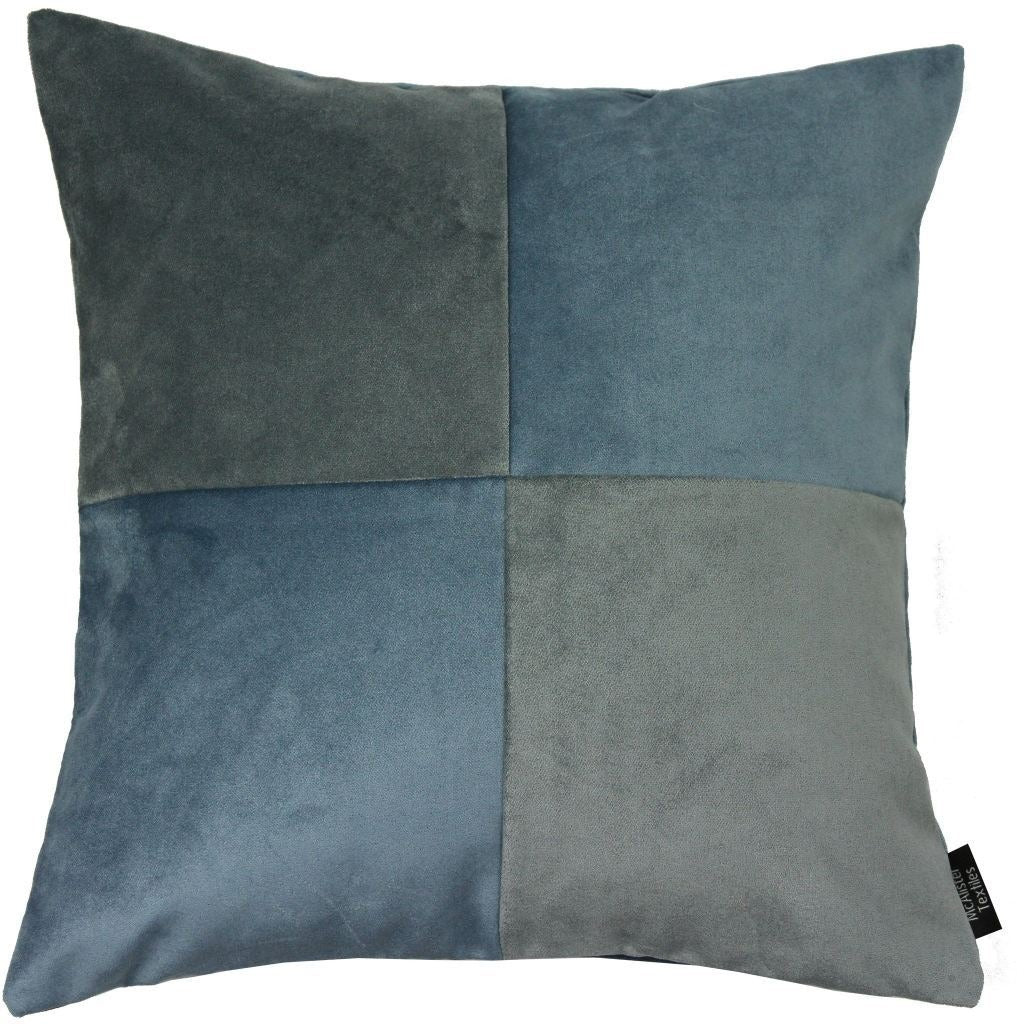 McAlister Textiles Square Patchwork Velvet Blue + Grey Cushion Cushions and Covers Cover Only 43cm x 43cm