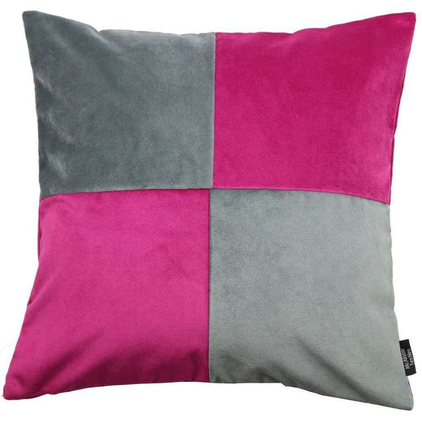 McAlister Textiles Square Patchwork Velvet Pink + Grey Cushion Cushions and Covers Cover Only 43cm x 43cm