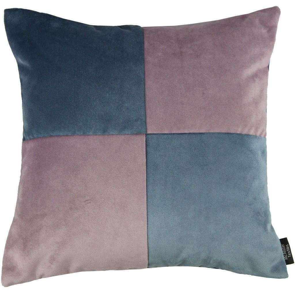 McAlister Textiles Square Patchwork Velvet Blue + Purple Cushion Cushions and Covers Cover Only 43cm x 43cm