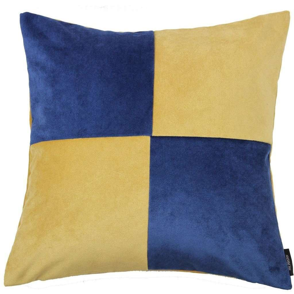 McAlister Textiles Square Patchwork Velvet Navy + Yellow Cushion Cushions and Covers Cover Only 43cm x 43cm