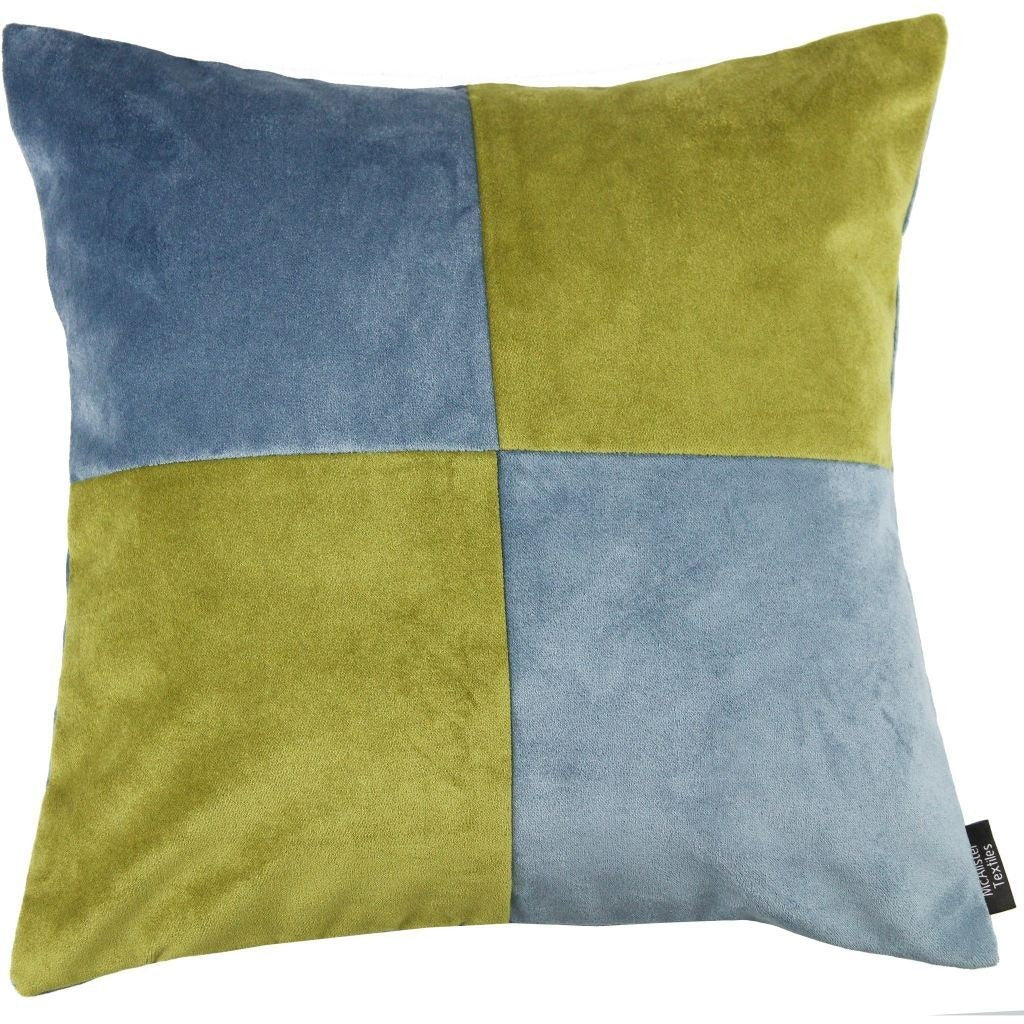 McAlister Textiles Square Patchwork Velvet Blue + Green Cushion Cushions and Covers Cover Only 43cm x 43cm