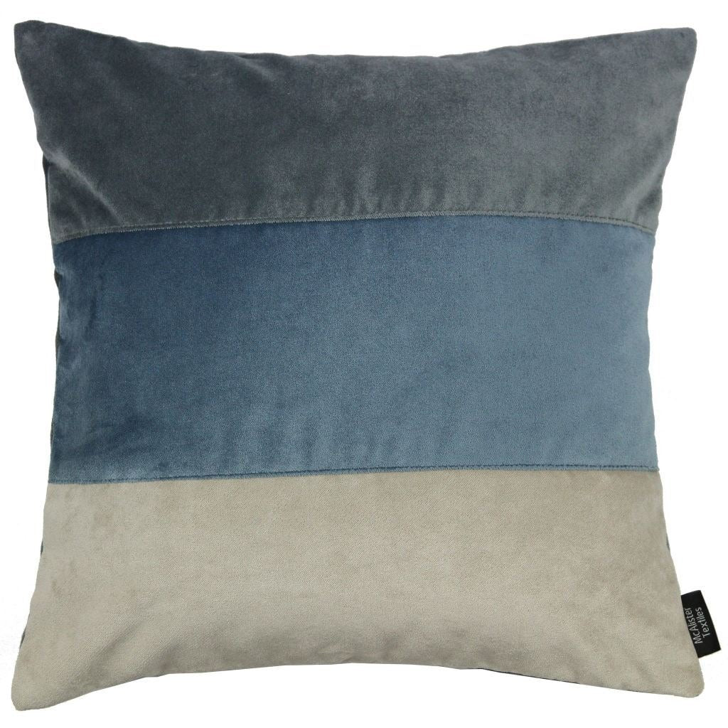 McAlister Textiles Straight Patchwork Velvet Blue, Gold + Grey Cushion Cushions and Covers Cover Only 43cm x 43cm