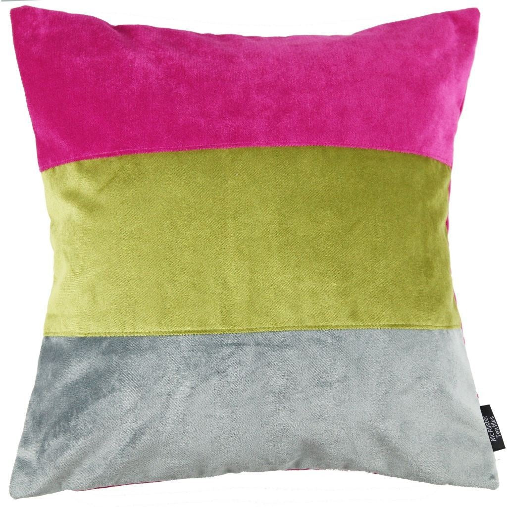 McAlister Textiles Straight Patchwork Velvet Pink, Green + Grey Cushion Cushions and Covers Cover Only 43cm x 43cm