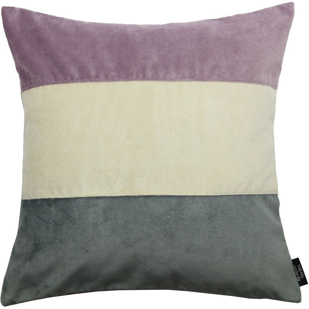 McAlister Textiles Straight Patchwork Velvet Purple, Gold + Grey Cushion Cushions and Covers Cover Only 43cm x 43cm