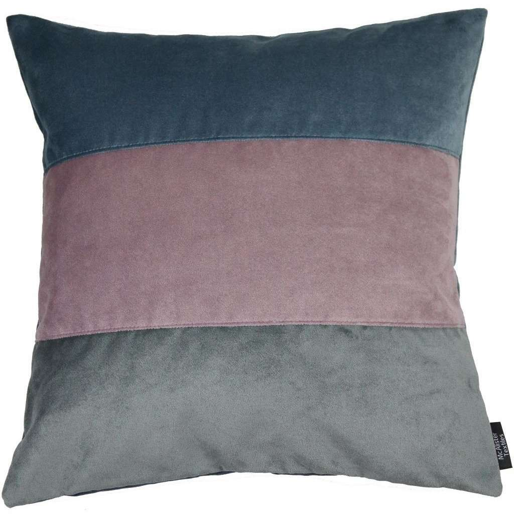 McAlister Textiles Straight Patchwork Velvet Blue, Purple + Grey Cushion Cushions and Covers Cover Only 43cm x 43cm