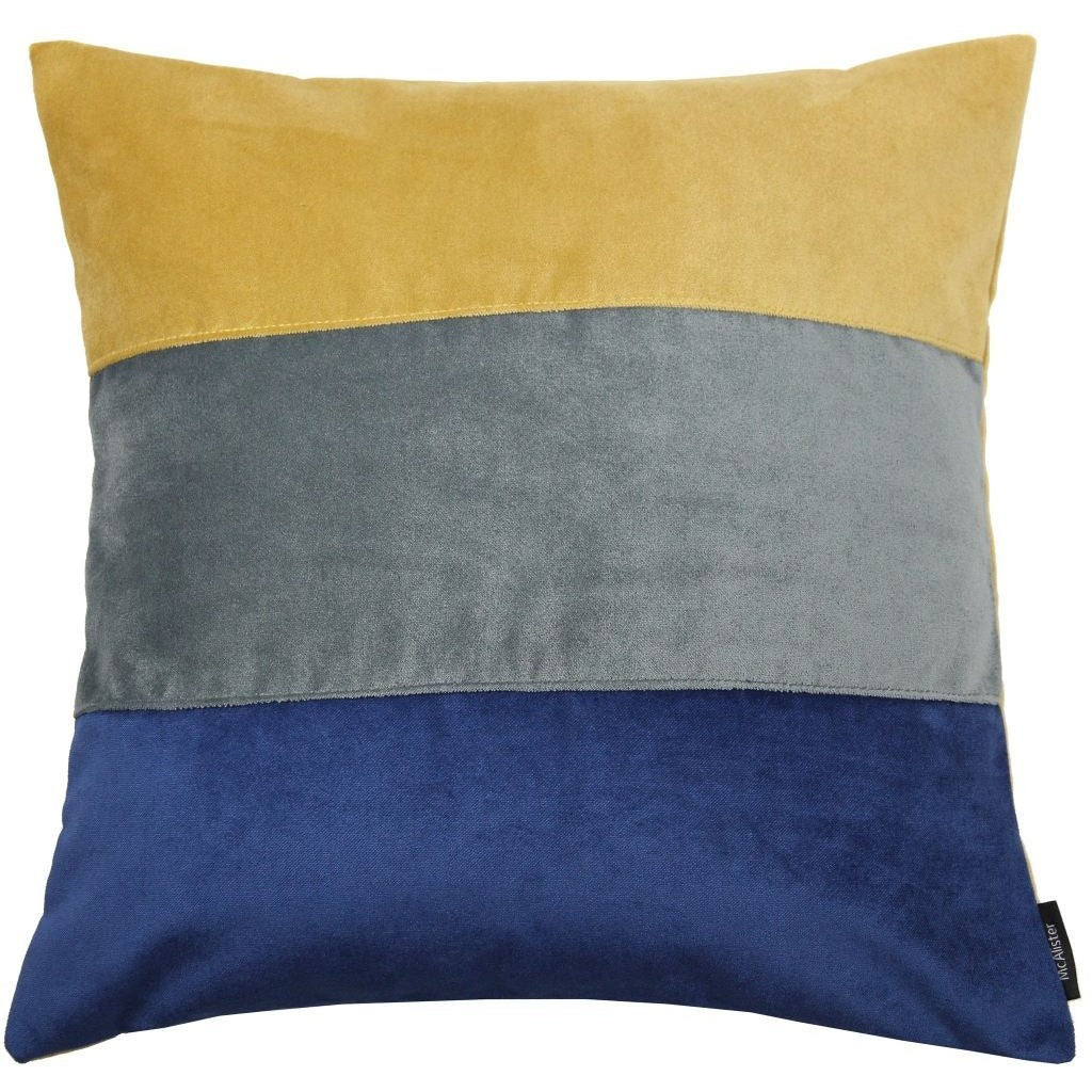 McAlister Textiles Straight Patchwork Velvet Navy, Yellow + Grey Cushion Cushions and Covers Cover Only 43cm x 43cm