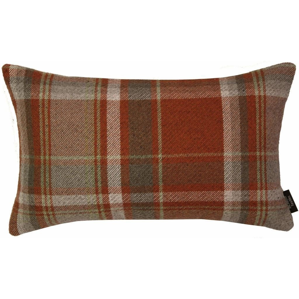McAlister Textiles Heritage Burnt Orange + Grey Tartan Pillow Pillow Cover Only 50cm x 30cm