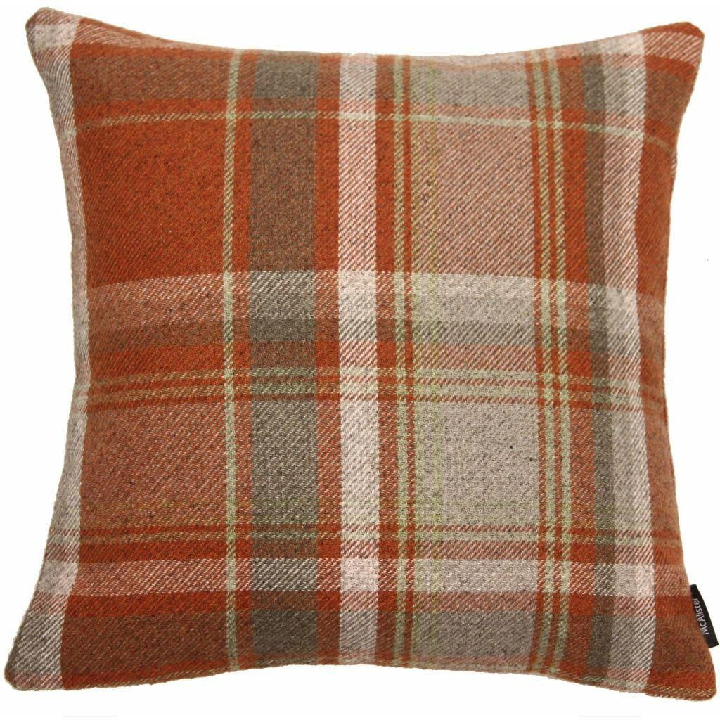 McAlister Textiles Heritage Tartan Check Terracotta + Grey Cushion Cushions and Covers