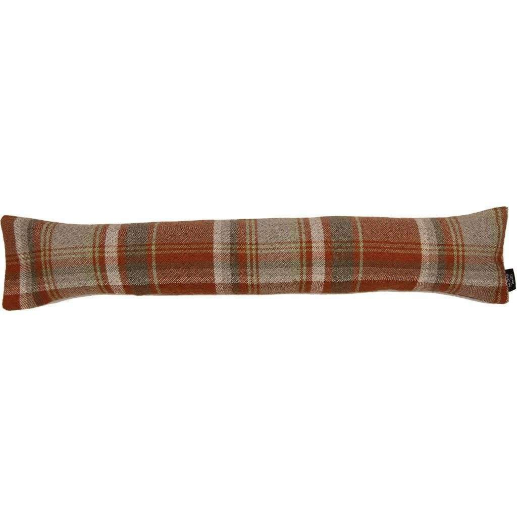 McAlister Textiles Heritage Burnt Orange + Grey Tartan Draught Excluder Draught Excluders