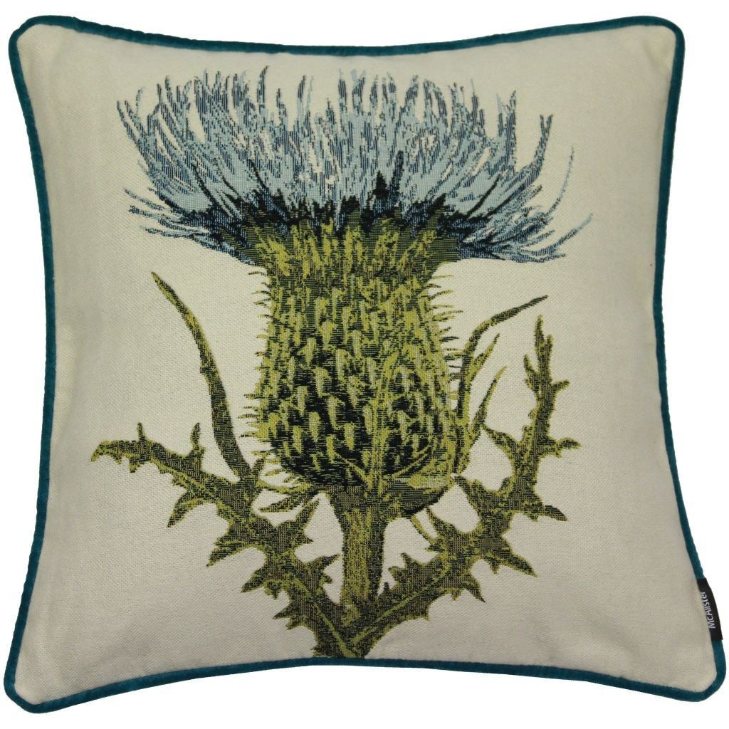 McAlister Textiles Blue Thistle Tapestry Cushion-Cushions and Covers-Cover Only-