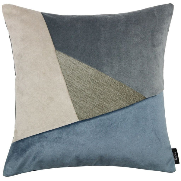 McAlister Textiles Triangle Patchwork Velvet Blue, Gold + Grey Cushion Cushions and Covers Cover Only 43cm x 43cm