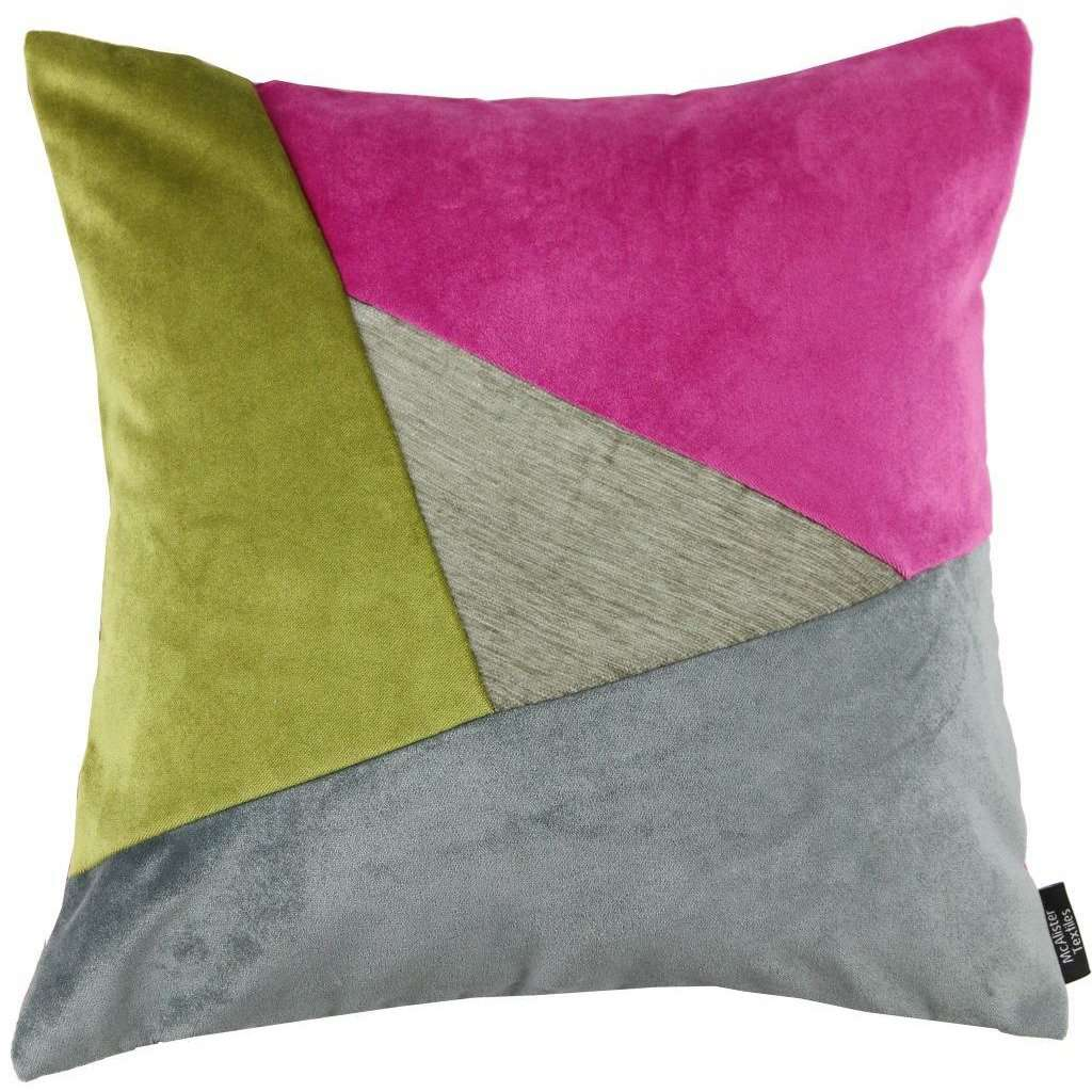 McAlister Textiles Triangle Patchwork Velvet Pink, Green + Grey Cushion Cushions and Covers Cover Only 43cm x 43cm