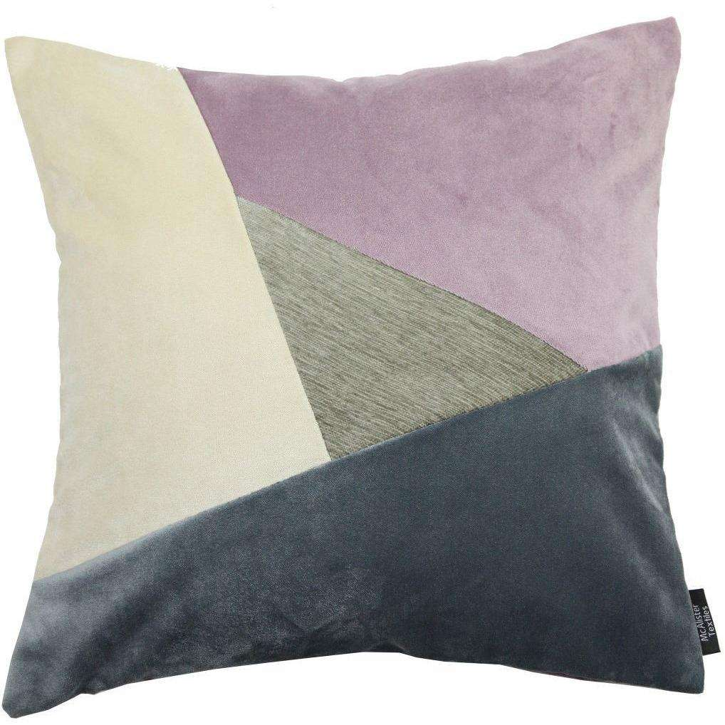McAlister Textiles Triangle Patchwork Velvet Purple, Gold + Grey Cushion Cushions and Covers Cover Only 43cm x 43cm