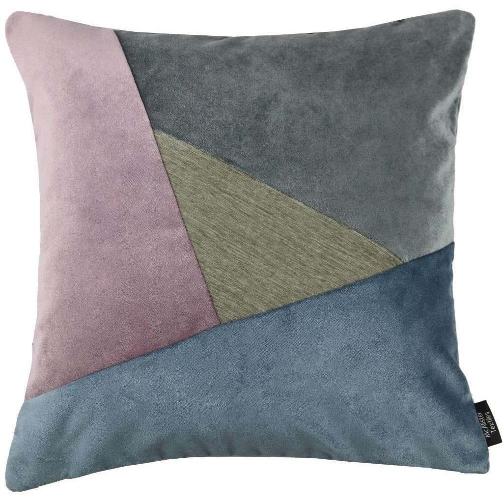 McAlister Textiles Triangle Patchwork Velvet Blue, Purple + Grey Cushion Cushions and Covers Cover Only 43cm x 43cm