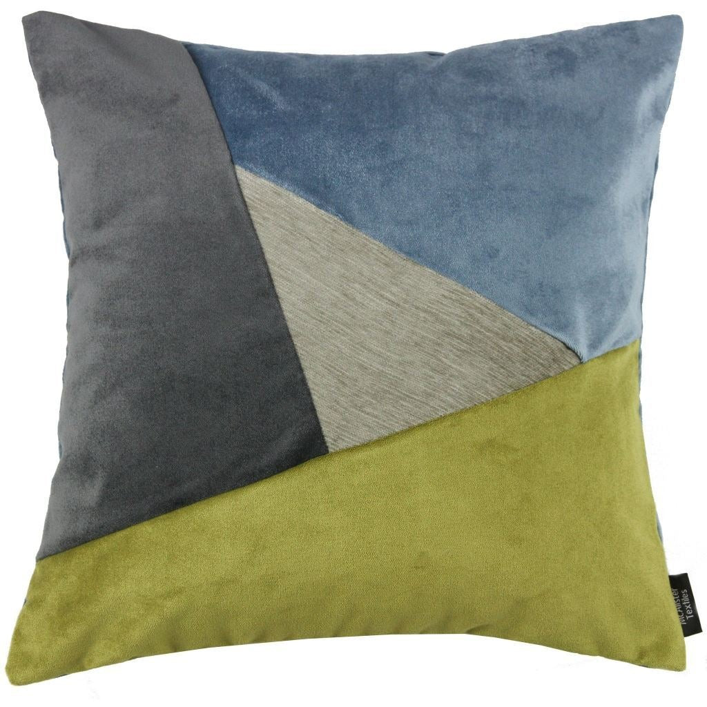 McAlister Textiles Triangle Patchwork Velvet Blue, Green + Grey Cushion Cushions and Covers Cover Only 43cm x 43cm