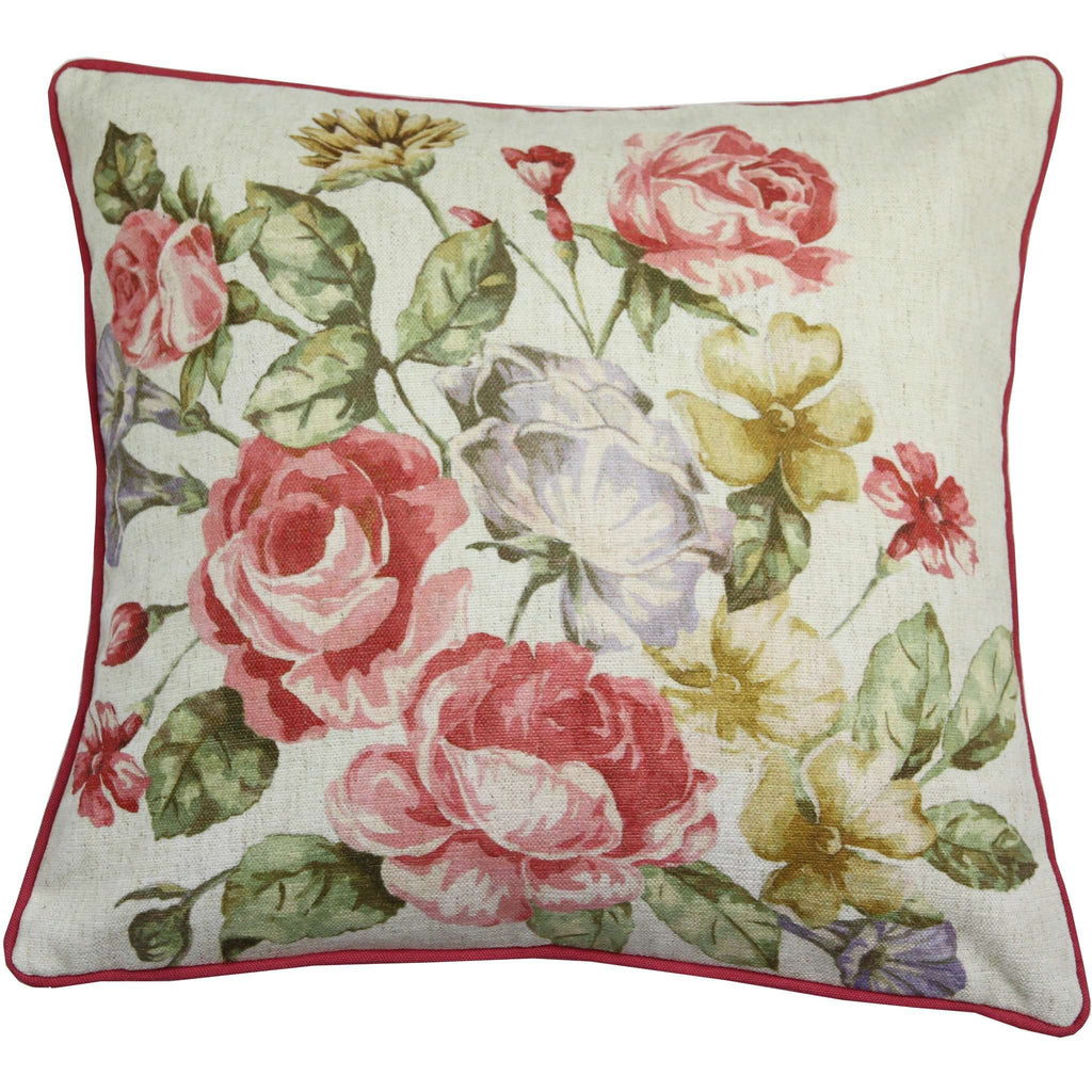 McAlister Textiles Novelty Vintage Floral Velvet Cushion Cushions and Covers Polyester Filler