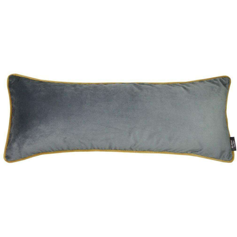 McAlister Textiles Deluxe Velvet Large Grey + Yellow Bed Pillow Large Boudoir Cushions
