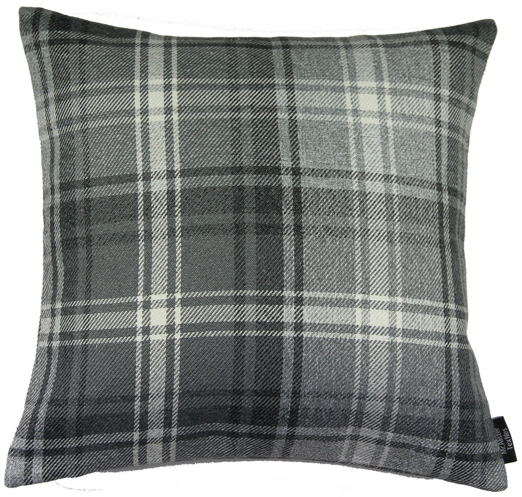 McAlister Textiles Angus Charcoal Grey Tartan Pillow Pillow Cover Only 43cm x 43cm