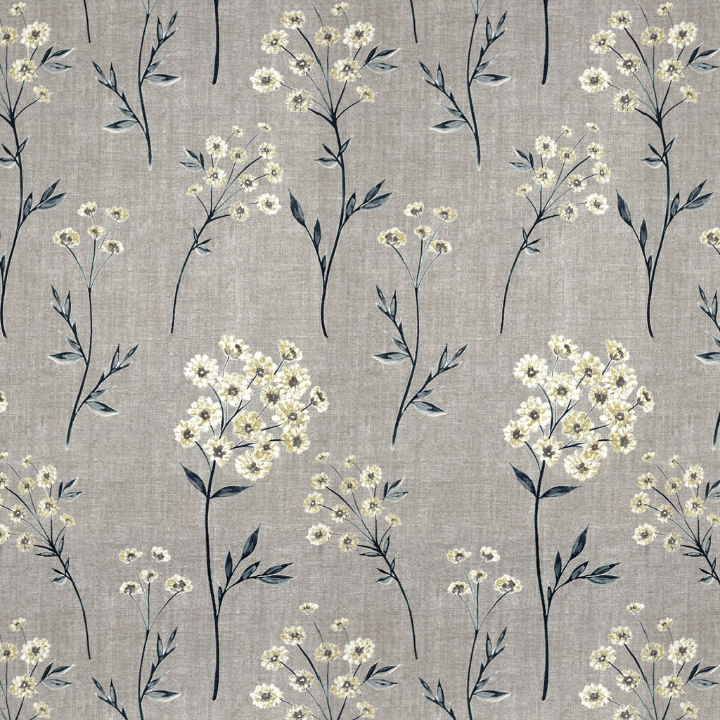 McAlister Textiles Meadow Soft Grey Floral FR Fabric Fabrics 1/2 Metre