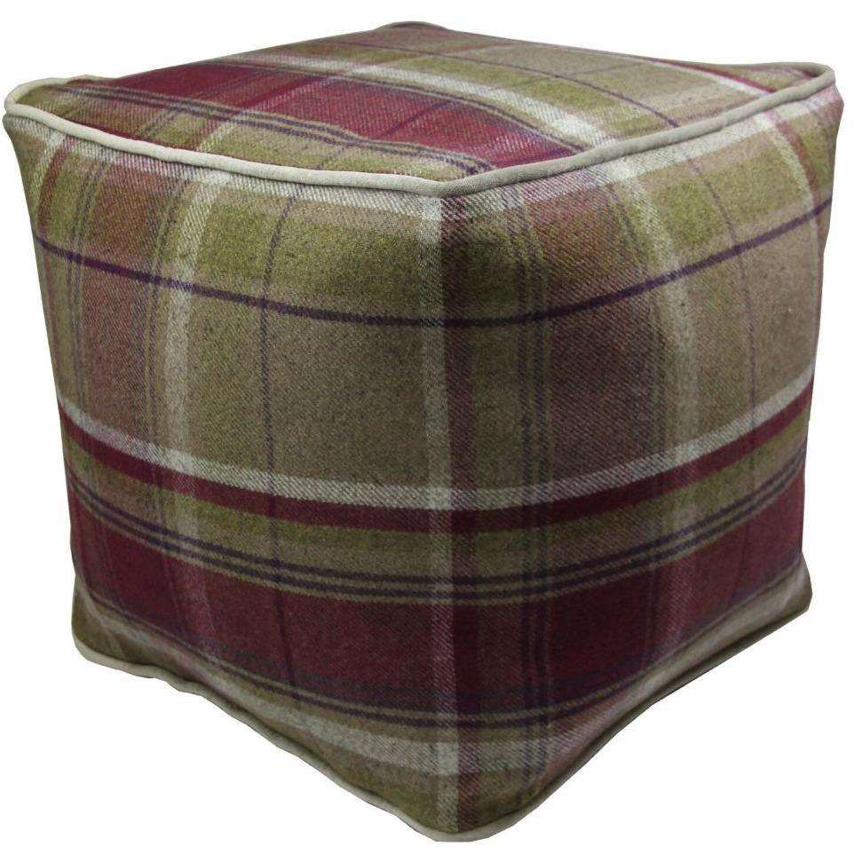 McAlister Textiles Deluxe Tartan Purple + Green Ottoman Cube Square Stool
