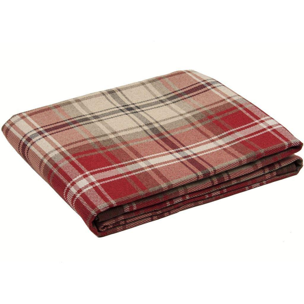 McAlister Textiles Angus Tartan Check Red + White Throw Throws and Runners Bed Runner (50cm x 240cm)