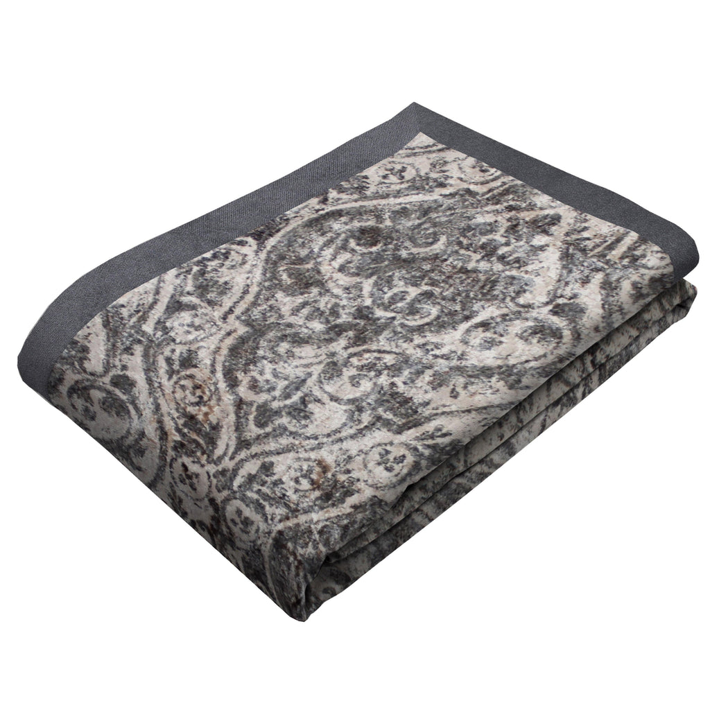 McAlister Textiles Renaissance Charcoal Grey Printed Velvet Throws & Runners Throws and Runners Bed Runner (50cm x 240cm)