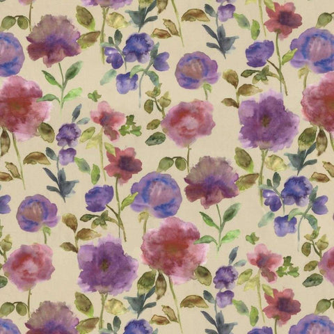McAlister Textiles Renoir Floral Violet Purple Curtains-Tailored Curtains-