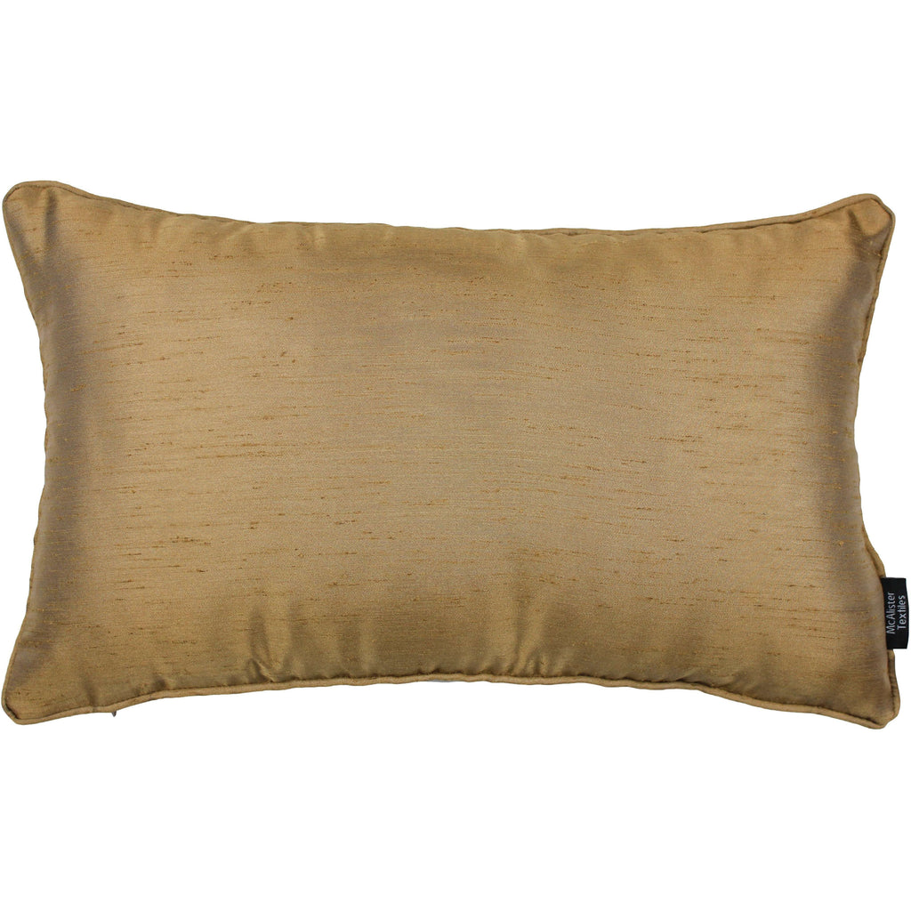 McAlister Textiles Rocco Plain Faux Silk Gold Pillow Pillow Cover Only 50cm x 30cm