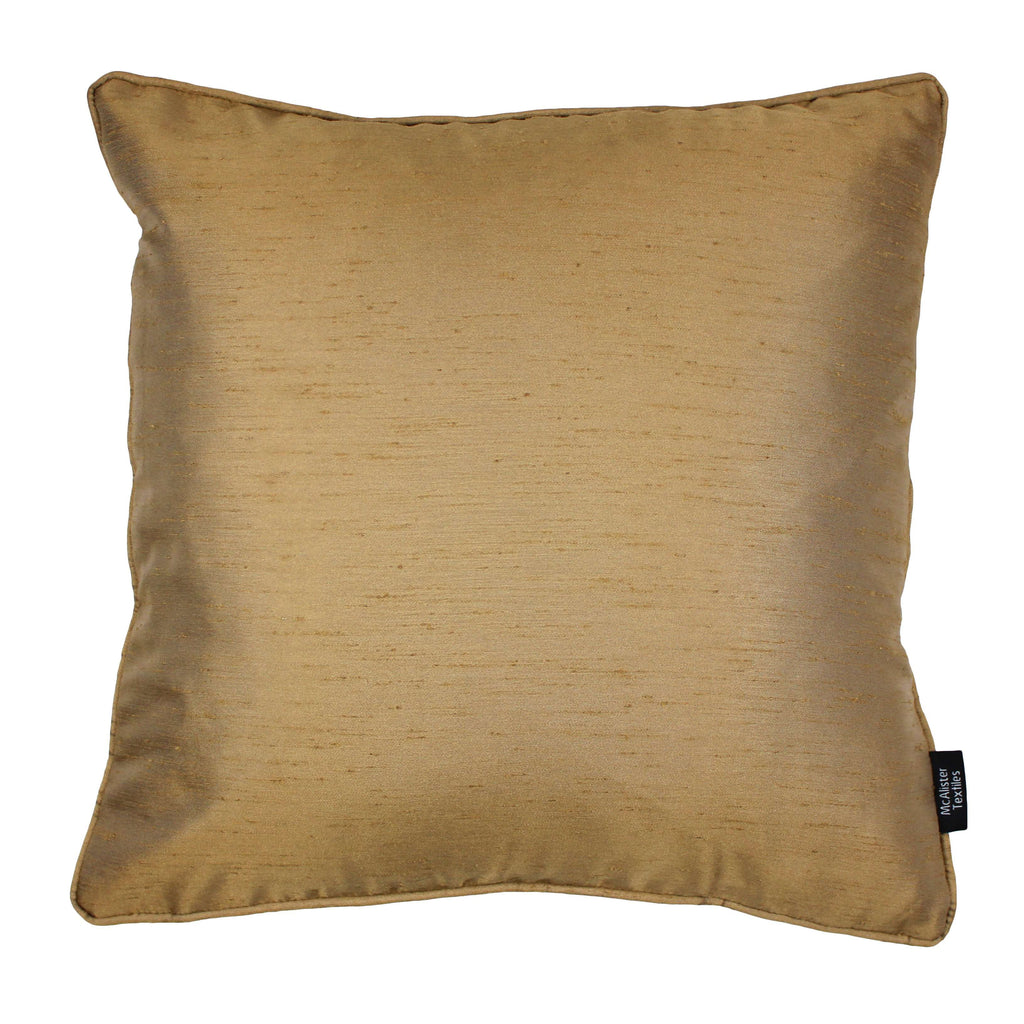 McAlister Textiles Rocco Plain Faux Silk Gold Cushion Cushions and Covers Cover Only 43cm x 43cm