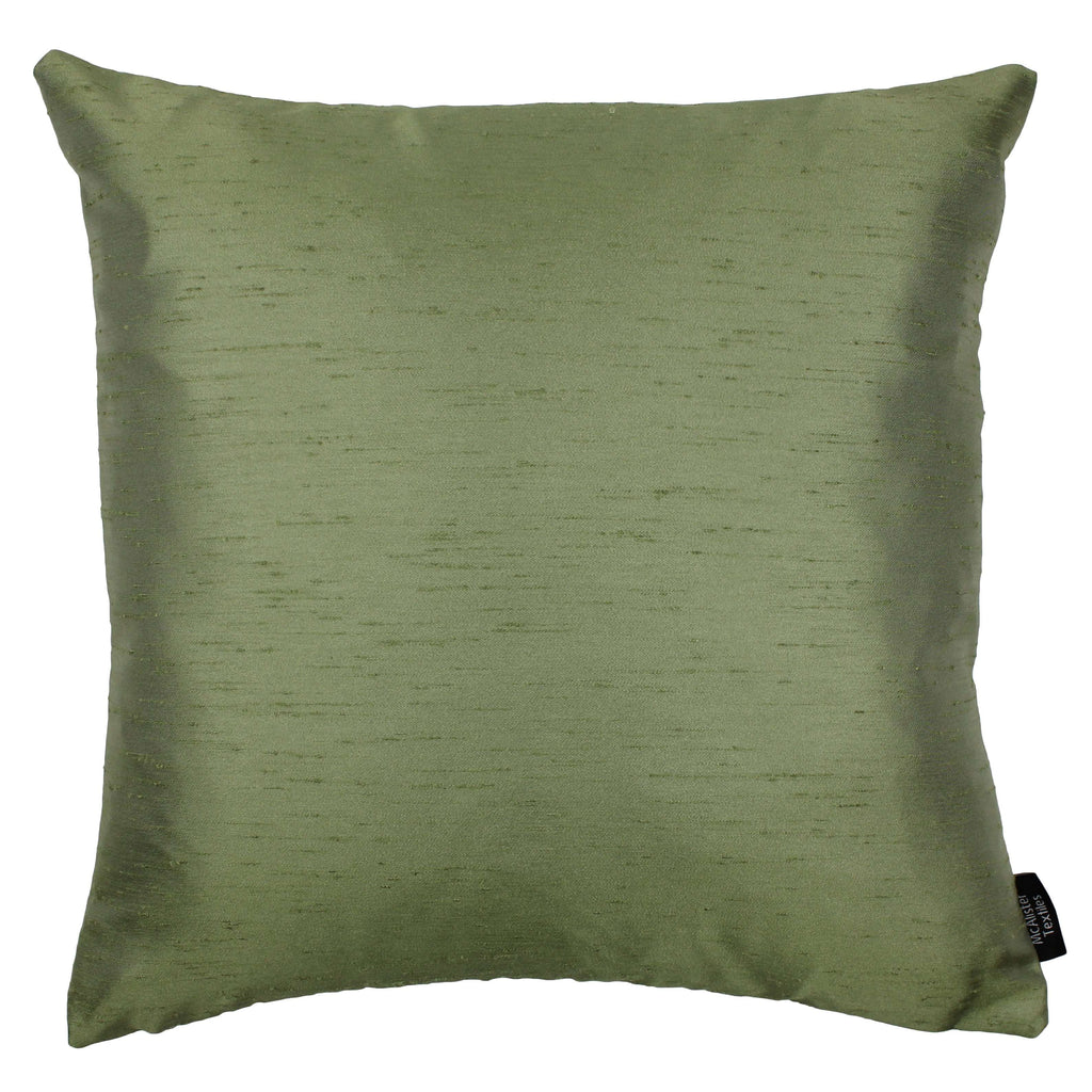 McAlister Textiles Rocco Contrast Faux Silk Green + Natural Cushion Cushions and Covers Cover Only 43cm x 43cm