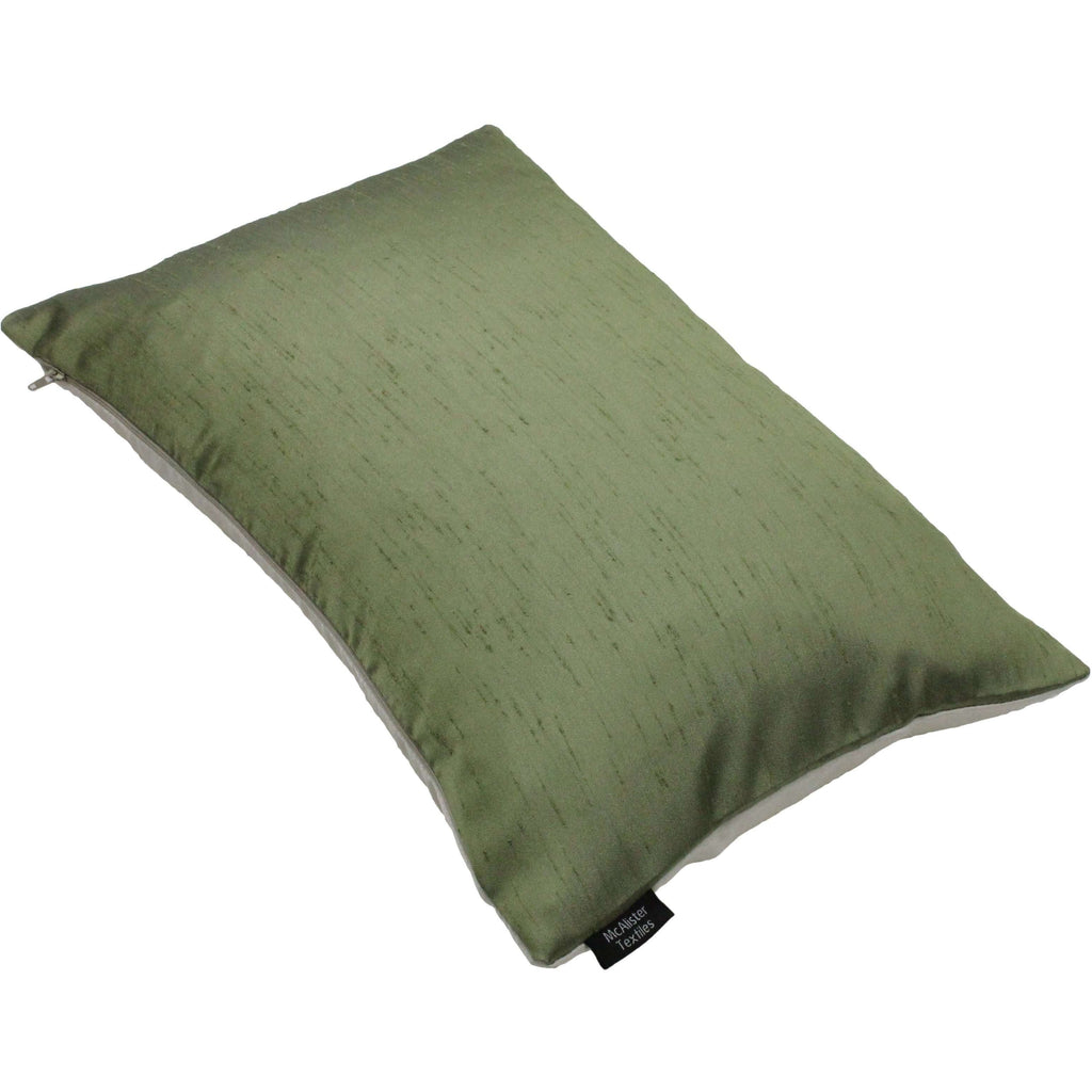 McAlister Textiles Rocco Contrast Faux Silk Green + Natural Pillow Pillow