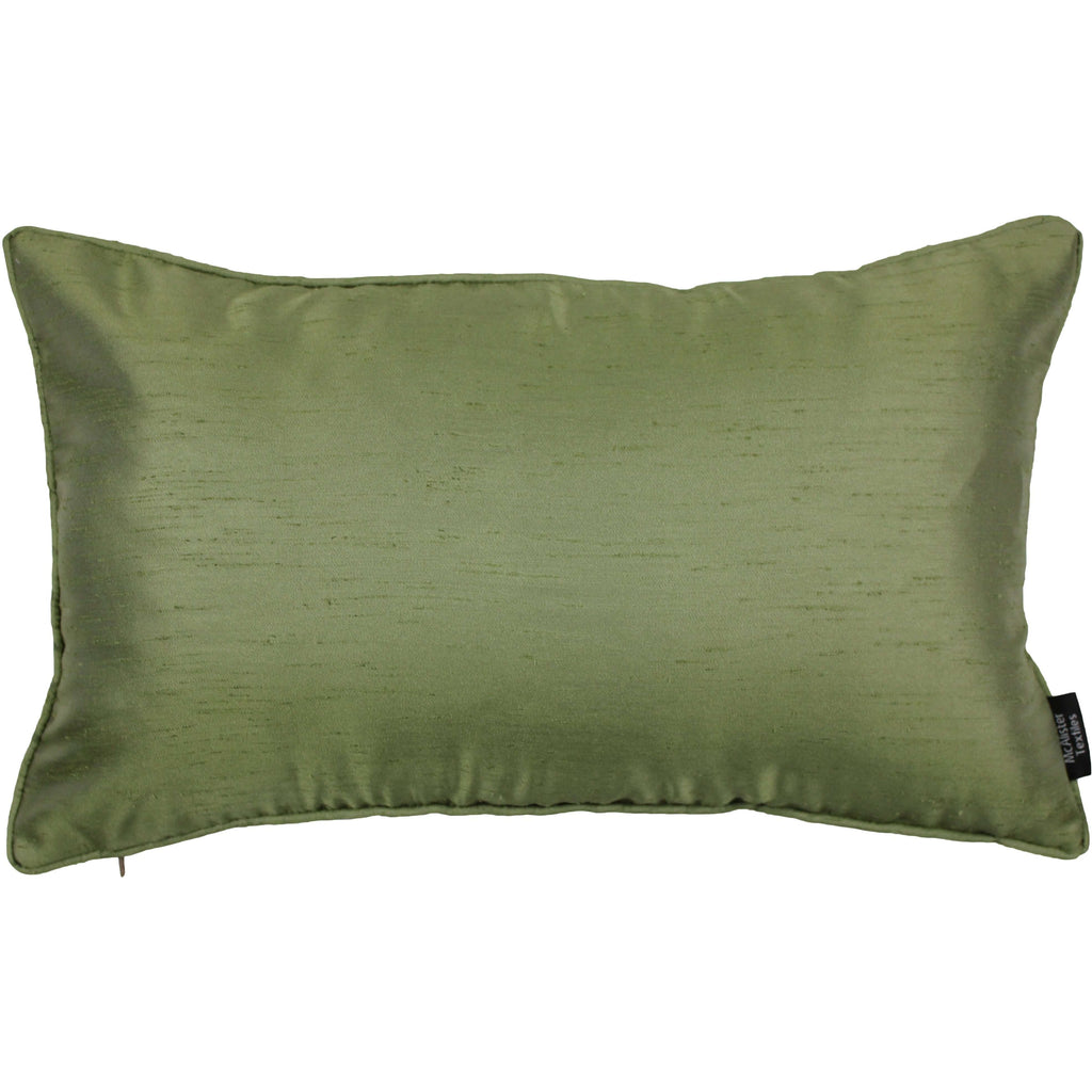 McAlister Textiles Rocco Plain Faux Silk Green Pillow Pillow Cover Only 50cm x 30cm
