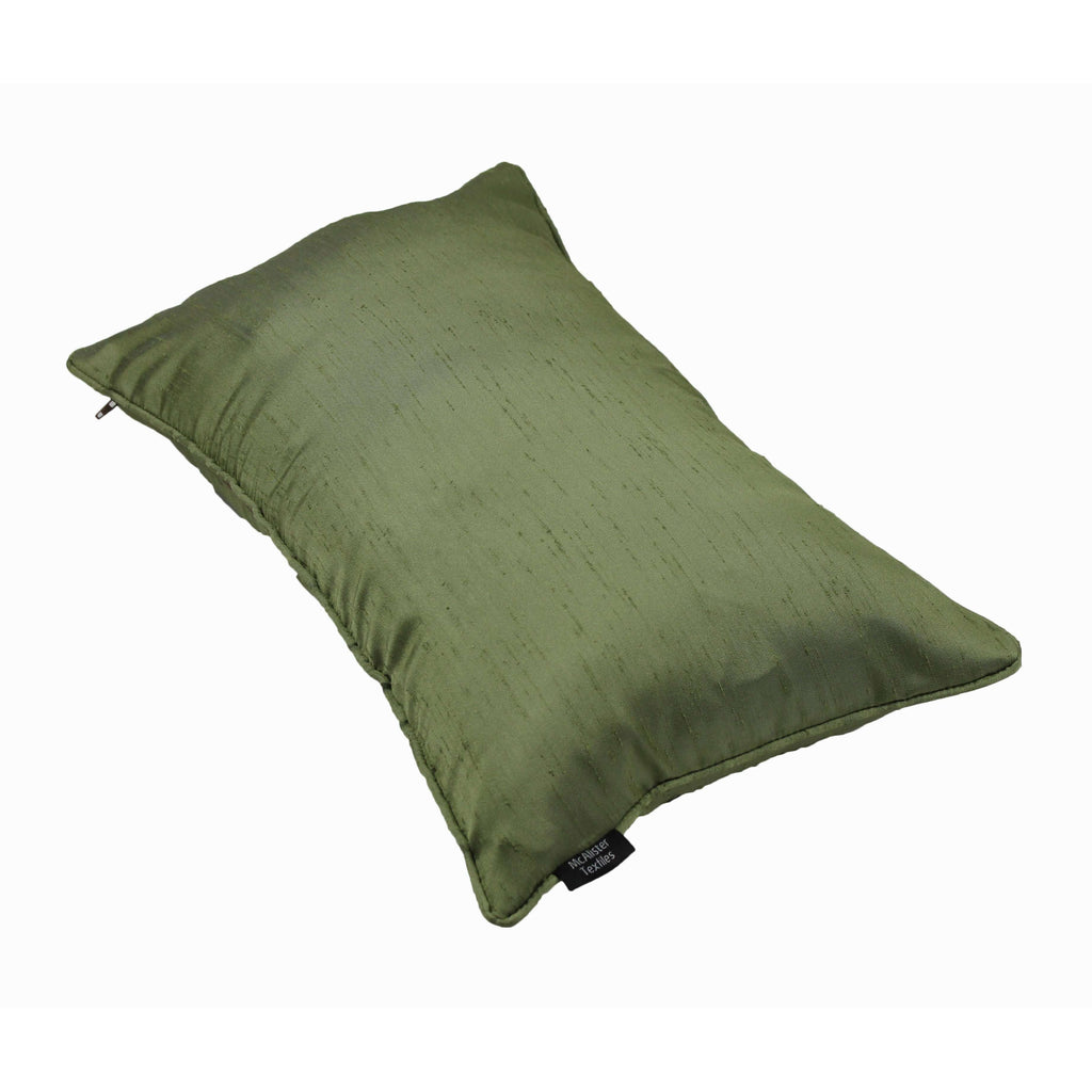 McAlister Textiles Rocco Plain Faux Silk Green Pillow Pillow
