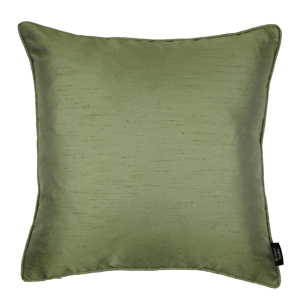 McAlister Textiles Rocco Plain Faux Silk Green Cushion Cushions and Covers Cover Only 43cm x 43cm