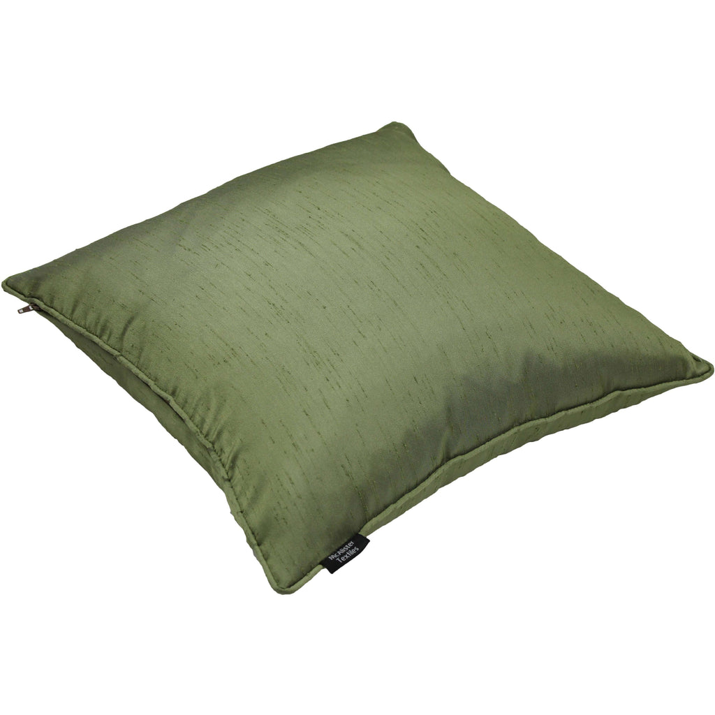 McAlister Textiles Rocco Plain Faux Silk Green Cushion Cushions and Covers