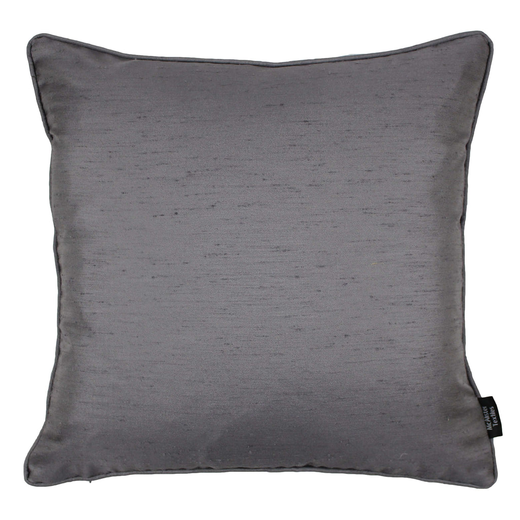 McAlister Textiles Rocco Plain Faux Silk Silver Grey Cushion Cushions and Covers Cover Only 43cm x 43cm