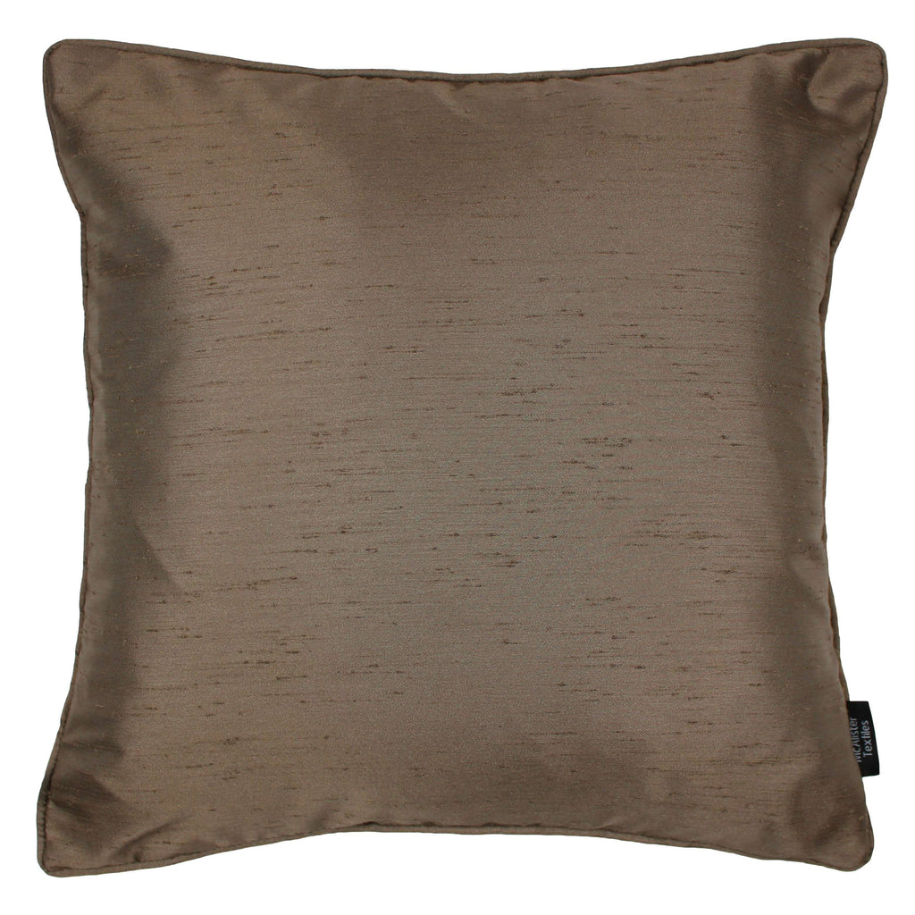 McAlister Textiles Rocco Plain Faux Silk Bronze Cushion Cushions and Covers Cover Only 43cm x 43cm