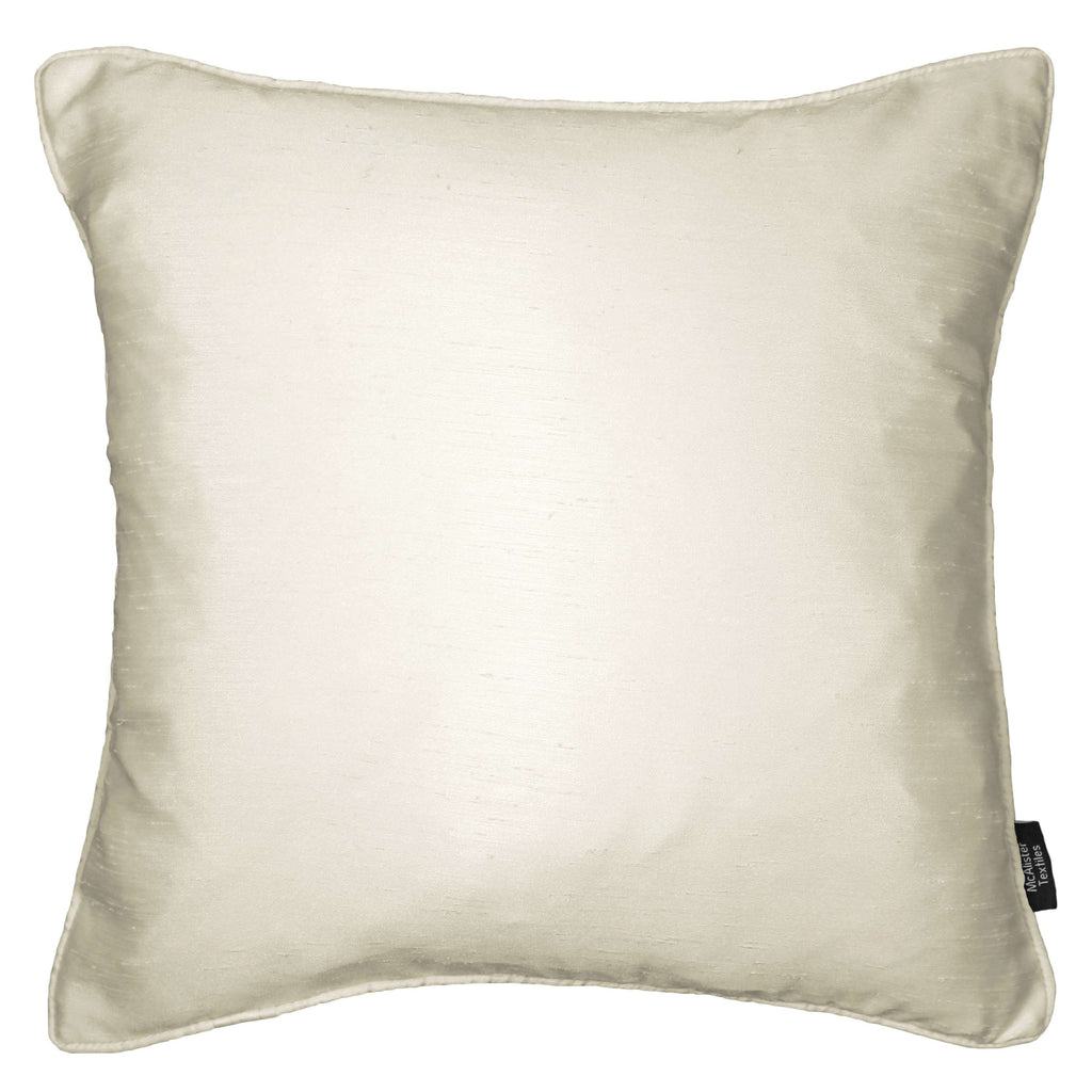 McAlister Textiles Rocco Plain Faux Silk Natural Cushion Cushions and Covers Cover Only 43cm x 43cm