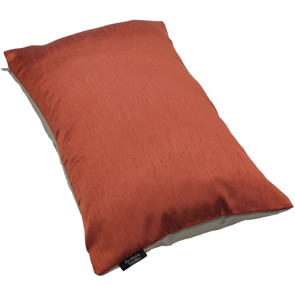 McAlister Textiles Rocco Contrast Faux Silk Orange + Taupe Cushion Cushions and Covers