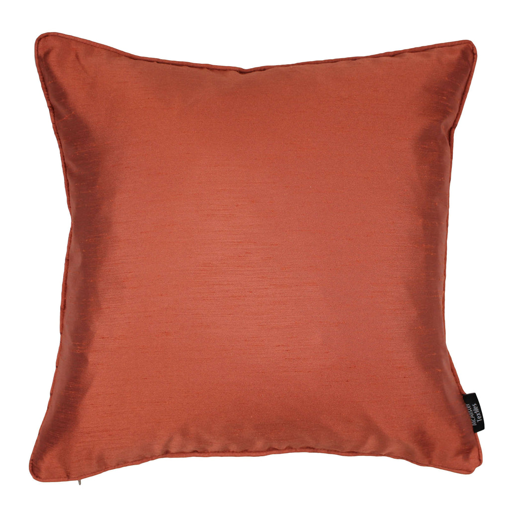 McAlister Textiles Rocco Plain Faux Silk Burnt Orange Cushion Cushions and Covers Cover Only 43cm x 43cm